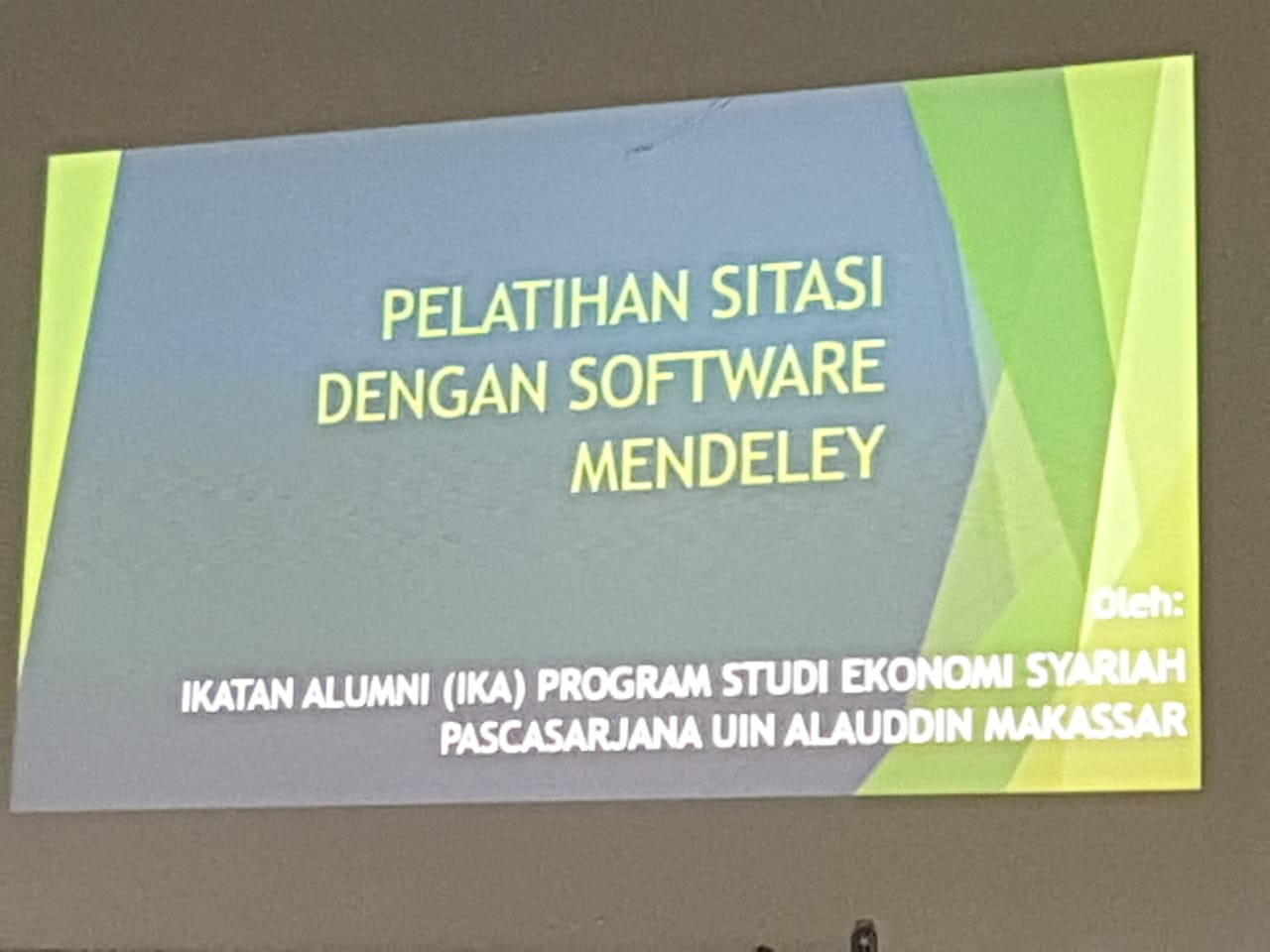 PELATIHAN SITASI DENGAN SOFTWARE MENDELEY